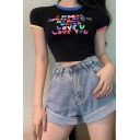 Summer Funny Colorful Letter LOVE YOU Print Contrast Trim Short Sleeve Slim Fit Crop Tee