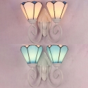 Tiffany Style Sconce Light Cone Shade 2 Lights Blue/White Glass Wall Lamp for Bedroom Stair