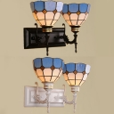 Glass Dome Shade Wall Sconce Dining Room 2 Lights Mediterranean Style Wall Light in Black/White