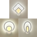 Modern Oval/Round/Square Wall Light Acrylic White LED Sconce Lamp in Warm for Stair Hallway