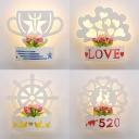 Lovely White Sconce Light Flower/Rudder/Tree/Trophy Acrylic Wall Light in Warm for Bedroom