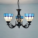 Glass Dome Pendant Lamp 3 Lights Mediterranean Style Chandelier in Blue for Foyer Hallway