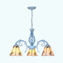 Tiffany Style Cone Pendant Light with Leaf Decoration Glass 3 Lights Chandelier for Foyer