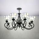 Traditional Dome Shade Chandelier 8 Lights Glass Metal Hanging Light for Living Room Villa