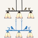 Tiffany Style Black/Blue Chandelier Cone 3 Lights Glass Pendant Lighting with Bird for Balcony