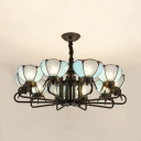 Dome Shade Living Room Chandelier Glass Metal 10 Lights Antique Style Hanging Lamp in Blue