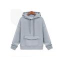 Fashion Long Sleeve Hood Plain Drawstring Pocket Thick Hoodie