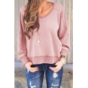 Womens Solid Round Neck Long Sleeve Open Back Sweatshirt