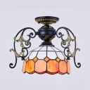 Tiffany Style Bowl Shade Flush Mount Light Glass 1 Light Engraved Ceiling Light for Study Room