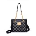 Fashion Diamond Quilted Design Black Shoulder Messenger Bag 25*11*19 CM