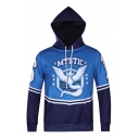 Mens New Stylish Colorblock Dragon Logo Printed Long Sleeve Relaxed Hoodie