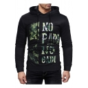 Cool Camouflage NO PAIN NO GAIN Letter Printed Black Slim Fit Drawstring Hoodie for Men