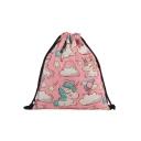 Cute Cartoon Unicorn Printed Pink Storage Bag Drawstring Backpack 30*39 CM