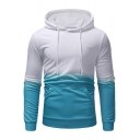 New Trendy Ombre Printed Long Sleeve Drawstring Detail Casual Hoodie For Men