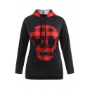 Halloween Plaid Skull Print Drawstring Hood Long Sleeve Black Hoodie