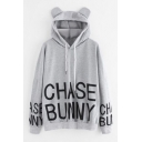 Lovely Rabbit Ear Hood CHASE BUNNY Letter Print Drawstring Hood Long Sleeve Gray Loose Fit Hoodie