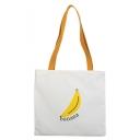 Cute Cartoon Banana Letter Printed White Canvas Shoulder Bag 32*31.5 CM