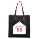 Stylish Letter Printed Striped Strap Shoulder Handbag 34*13*35 CM