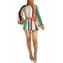 Women's Hot Sale Long Sleeve Stand Collar Colorful Stripes Bow-Tide Waist Mini A-Line Dress