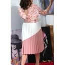 Women's New Colorblock Printed Round Neck 3/4 Sleeve Belted Pleated Detail Midi A-Line Dress