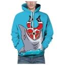 Funny Cartoon Shark Print Long Sleeve Loose Fit Unisex Blue Hoodie With Pocket