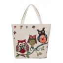 Cute Cartoon Owl Pattern Beige Canvas Shoulder Tote Bag 35*10*38 CM