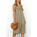 Women's New Stylish Spaghetti Straps Sleeve Backless Ruffle Hem Midi Slip Khaki Dress