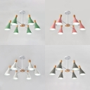 European Style Bottle Chandelier with Macaron Color 6 Lights Metal Suspension Light for Bedroom