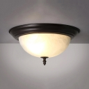 Traditional Dome Shade Ceiling Light Frosted Glass 2/3 Lights Flush Mount Light for Bedroom