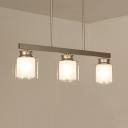 Cylinder Dining Room Island Light Glass & Metal 3/4 Lights Traditional Pendant Lighting