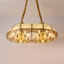 Vintage Style Candle Island Pendant with Shade Metal Brass 12 Lights Hanging Lamp for Living Room