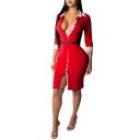 Women's New Trendy Plaid Patched V Neck 3/4 Sleeve Belt Waist Mini Bodycon Slit Dress