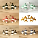 Nordic Style Dome Ceiling Light 6 Lights Metal Chandelier with Macaron Color for Kindergarten