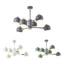 Creative Globe Chandelier 6 Lights Metal Suspension Light in Macaron White/Green/Gray for Living Room