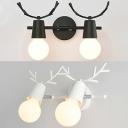 Modern Style Antlers Wall Light 2 Lights Metal Sconce Light in Black/White for Bedroom