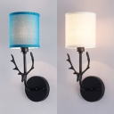 Blue/White Cylinder Sconce Light 1 Light Modern Fabric Metal Wall Light with Deer for Study Foyer