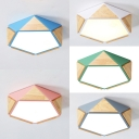Macaron Colored Pentagon Flush Mount Light Creative Wood Acrylic Ceiling Light in Warm for Bedroom