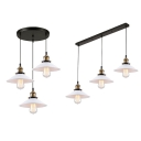 Antique Style Black Pendant Light Cone 3 Lights Metal Hanging Lamp with Linear/Round Canopy for Shop