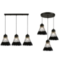 Badminton Dining Room Suspension Light Metal 3 Lights Creative Hanging Light with Linear/Round Canopy in Black