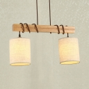 Modern Style Cylinder Linear Chandelier 2/3 Lights Fabric & Wood Hanging Light in Beige