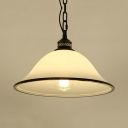 Traditional White Suspension Light Dome Shade 1 Light Frosted Glass Ceiling Lamp for Hallway