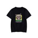 Summer Cute Letter YOUR GIFT Grumpy Cat Print Round Neck Short Sleeve Unisex T-Shirt
