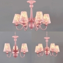 3/5/6 Lights Tapered Shade Chandelier with Flower Kids Metal Suspension Light in Pink for Bedroom