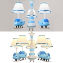 Fabric Tapered Shade Chandelier with Cartoon Airplane 3/5 Lights Cute Suspension Light in Blue for Bedroom