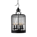 Black Flameless Candle Pendant Lamp with Birdcage 4 Lights Rustic Style Metal Chandelier for Bar