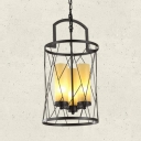 3 Lights Cylinder Candle Chandelier with Wire Frame Industrial Metal Pendant Lamp in Black for Restaurant