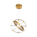 Brass 2-Ring Chandelier Colonial Style Metal Hanging Lamp in Warm/White for Dining Room