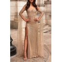 Women's Fashion Off The Shoulder Long Sleeve Plain Beaded Detail Maxi Bandeau Apricot Dress