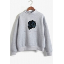 Popular Cool Figure Letter BECOME HUMAN Printed Mock Neck Long Sleeve Unisex Sweatshirt