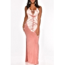 Women's Sexy Halter Neck Sleeveless Tie-dye Printed Cutout Detail Backless Split Side Maxi Bodycon Pink Dress
